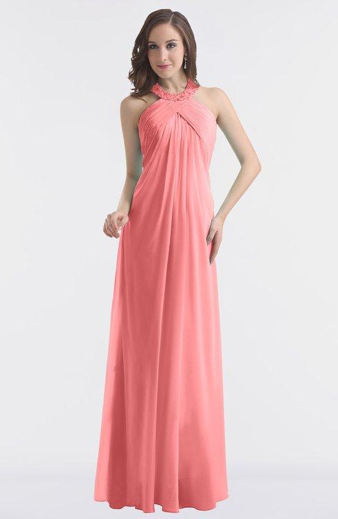 ColsBM Maeve Coral Classic A-line Halter Backless Floor Length Bridesmaid Dresses