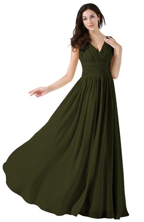 ColsBM Alana Beech Elegant V-neck Sleeveless Zip up Floor Length Ruching Bridesmaid Dresses