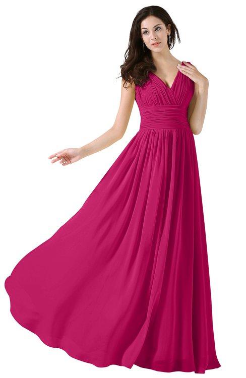 ColsBM Alana Beetroot Purple Elegant V-neck Sleeveless Zip up Floor Length Ruching Bridesmaid Dresses