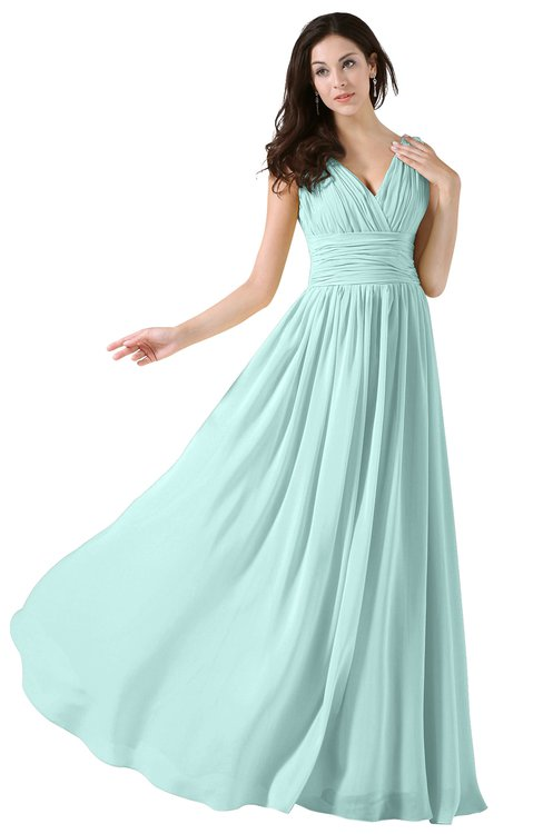 ColsBM Alana Blue Glass Elegant V-neck Sleeveless Zip up Floor Length Ruching Bridesmaid Dresses
