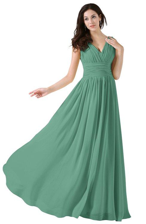 ColsBM Alana Bristol Blue Elegant V-neck Sleeveless Zip up Floor Length Ruching Bridesmaid Dresses