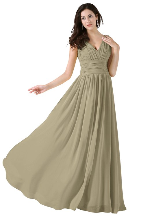ColsBM Alana Candied Ginger Elegant V-neck Sleeveless Zip up Floor Length Ruching Bridesmaid Dresses
