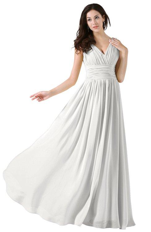 ColsBM Alana Cloud White Elegant V-neck Sleeveless Zip up Floor Length Ruching Bridesmaid Dresses