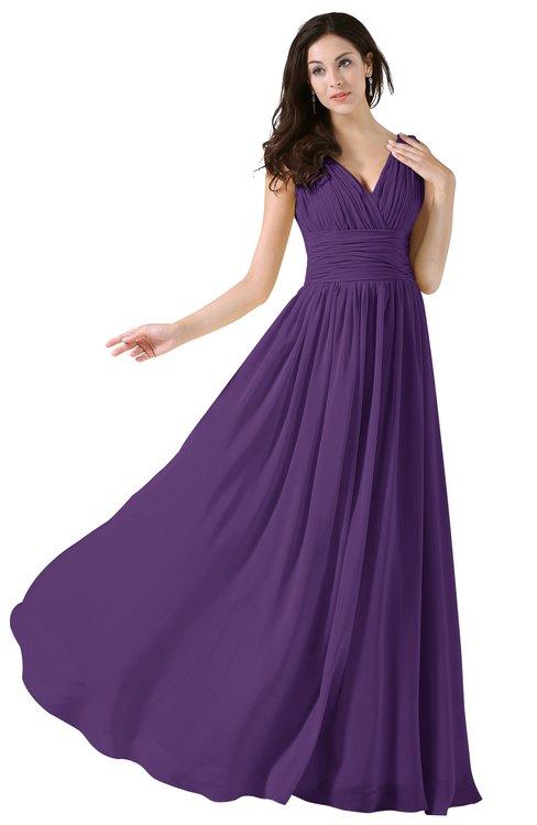 ColsBM Alana Dark Purple Elegant V-neck Sleeveless Zip up Floor Length Ruching Bridesmaid Dresses