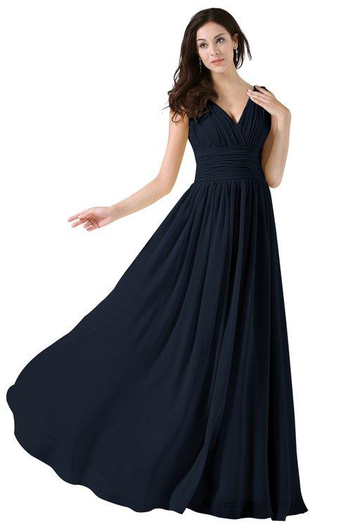 ColsBM Alana Navy Blue Elegant V-neck Sleeveless Zip up Floor Length Ruching Bridesmaid Dresses
