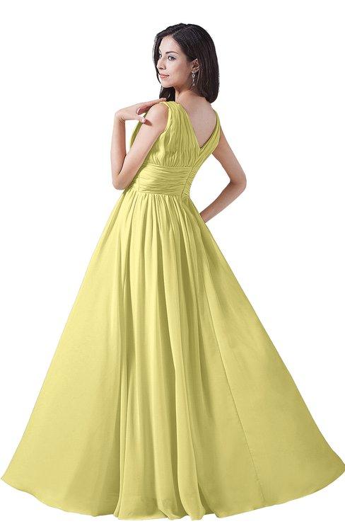 8d39c9f914 ... ColsBM Alana Pastel Yellow Elegant V-neck Sleeveless Zip up Floor  Length Ruching Bridesmaid Dresses
