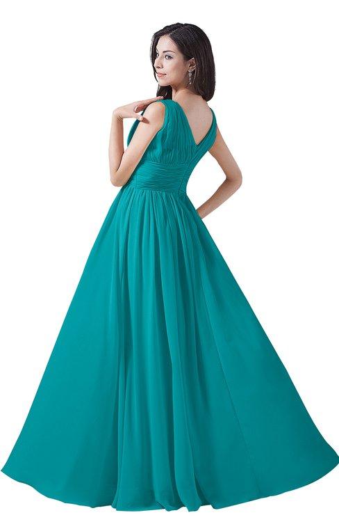 5e8a11ac43f ... ColsBM Alana Peacock Blue Elegant V-neck Sleeveless Zip up Floor Length  Ruching Bridesmaid Dresses