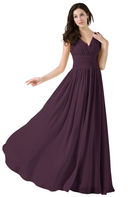 ColsBM Alana Plum Elegant V-neck Sleeveless Zip up Floor Length Ruching Bridesmaid Dresses