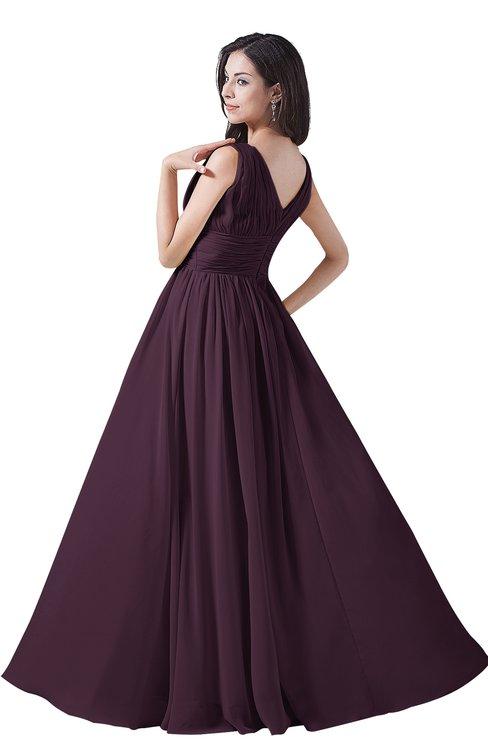 9083037c9e ... ColsBM Alana Plum Elegant V-neck Sleeveless Zip up Floor Length Ruching  Bridesmaid Dresses