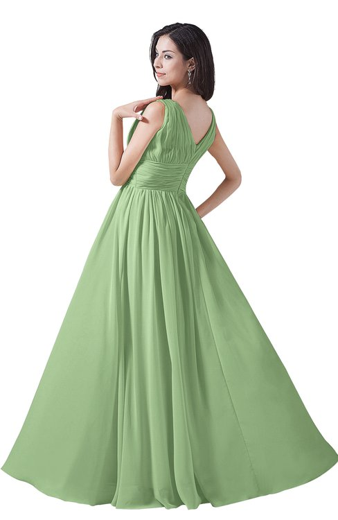 369ac1b8326 ... ColsBM Alana Sage Green Elegant V-neck Sleeveless Zip up Floor Length  Ruching Bridesmaid Dresses
