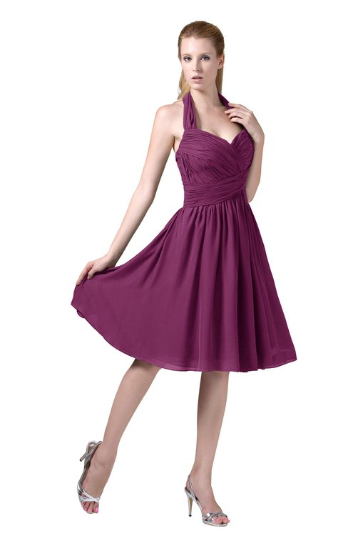 751133ed988 ColsBM Corinne Raspberry Modest Sleeveless Zip up Chiffon Knee Length  Ruching Party Dresses