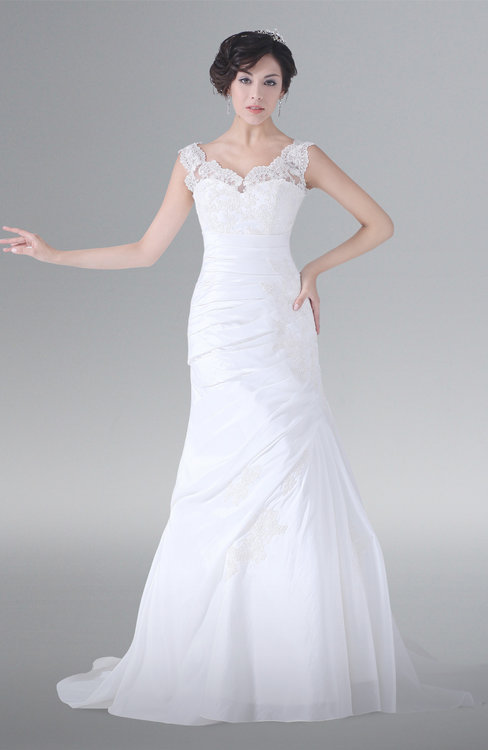 ColsBM Lara White Modest Hall Sleeveless Zipper Court Train Lace Bridal Gowns