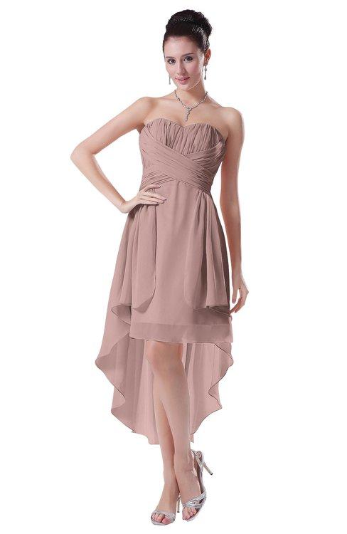 ColsBM Victoria Blush Pink Hawaiian A-line Sleeveless Chiffon Tea Length Ruching Evening Dresses