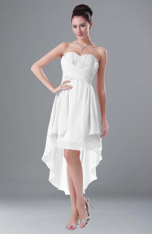 ColsBM Victoria White Hawaiian A-line Sleeveless Chiffon Tea Length Ruching Evening Dresses