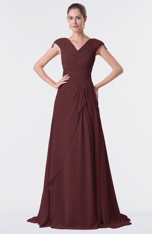 ColsBM Valerie Burgundy Antique A-line V-neck Lace up Chiffon Floor Length Evening Dresses