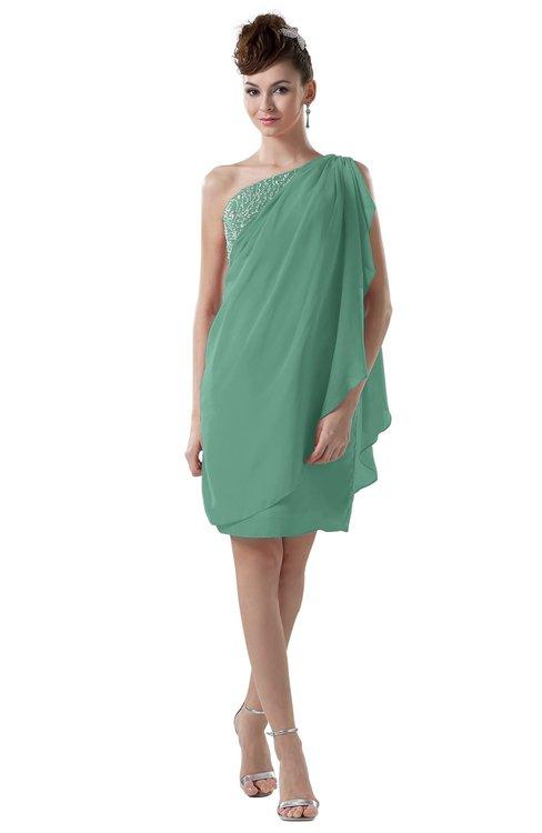 ColsBM Layla Beryl Green Informal Sheath Backless Chiffon Knee Length Paillette Homecoming Dresses