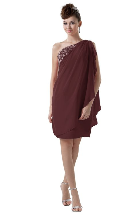 ColsBM Layla Burgundy Informal Sheath Backless Chiffon Knee Length Paillette Homecoming Dresses