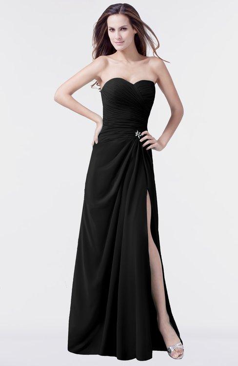 ColsBM Mary Black Elegant A-line Sweetheart Sleeveless Floor Length Pleated Bridesmaid Dresses