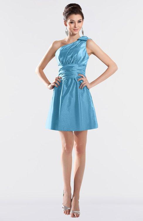 ColsBM Kailani Alaskan Blue Cute A-line Asymmetric Neckline Half Backless Short Ruching Bridesmaid Dresses