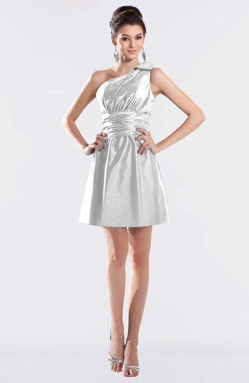 ColsBM Kailani Cloud White Cute A-line Asymmetric Neckline Half Backless Short Ruching Bridesmaid Dresses