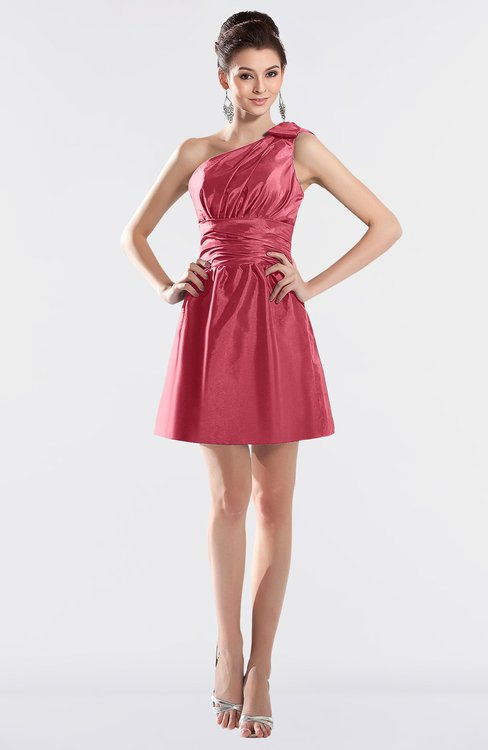 ColsBM Kailani Magenta Cute A-line Asymmetric Neckline Half Backless Short Ruching Bridesmaid Dresses