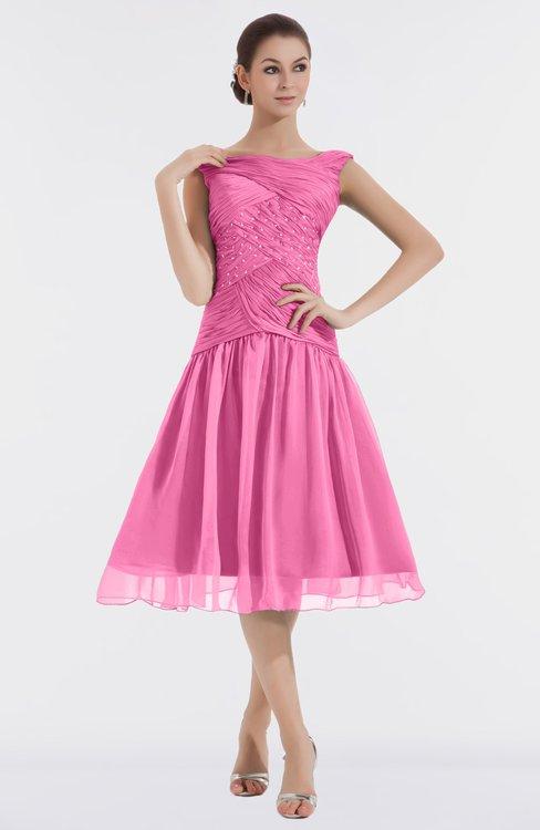 ColsBM Alissa Carnation Pink Cute A-line Sleeveless Knee Length Ruching Bridesmaid Dresses