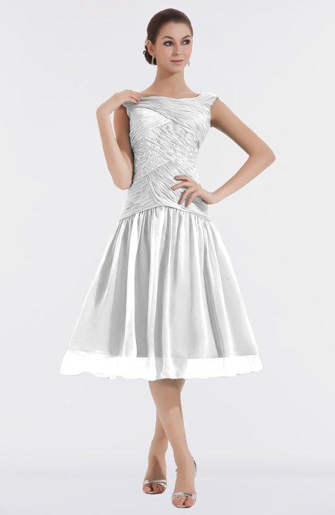 ColsBM Alissa Cloud White Cute A-line Sleeveless Knee Length Ruching Bridesmaid Dresses
