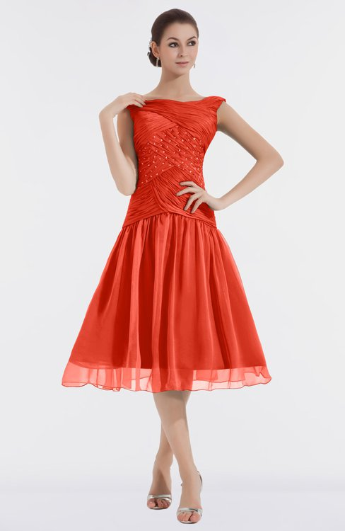 ColsBM Alissa Mandarin Red Cute A-line Sleeveless Knee Length Ruching Bridesmaid Dresses