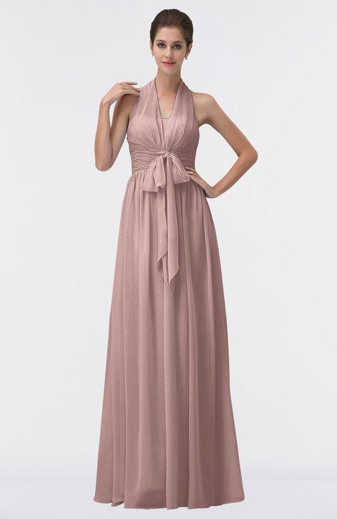 ColsBM Allie Blush Pink Modest A-line Backless Floor Length Pleated Bridesmaid Dresses