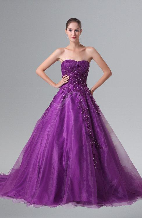 ColsBM Reina Wood Violet Glamorous Outdoor Princess Sweetheart Sleeveless Chapel Train Rhinestone Bridal Gowns