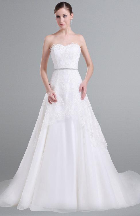 ColsBM Lyla White Romantic Beach A-line Sleeveless Satin Court Train Sash Bridal Gowns