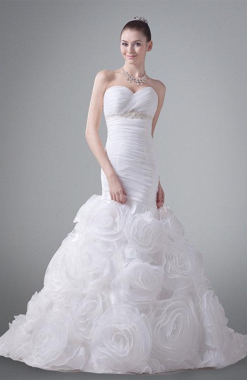 ColsBM Rayna White Modern Garden Trumpet Sweetheart Zip up Court Train Bridal Gowns