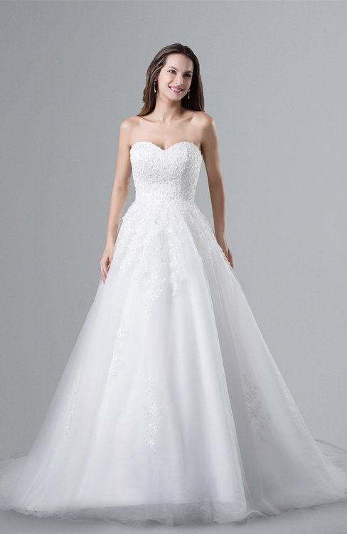 ColsBM Amelie Cloud White Gorgeous Church Sweetheart Sleeveless Net Court Train Appliques Bridal Gowns