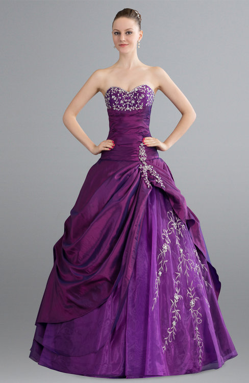 ColsBM April Wood Violet Princess Beach Ball Gown Sleeveless Backless Taffeta Floor Length Bridal Gowns
