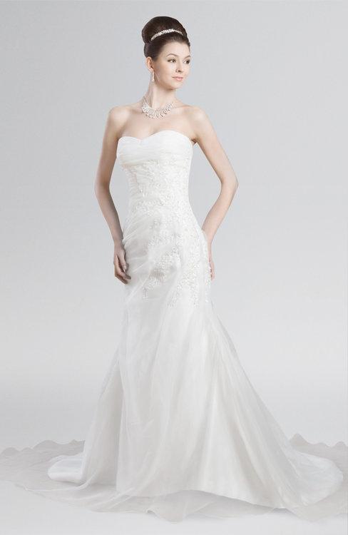 ColsBM Clarissa White Elegant Outdoor Strapless Sleeveless Zipper Chapel Train Ruching Bridal Gowns