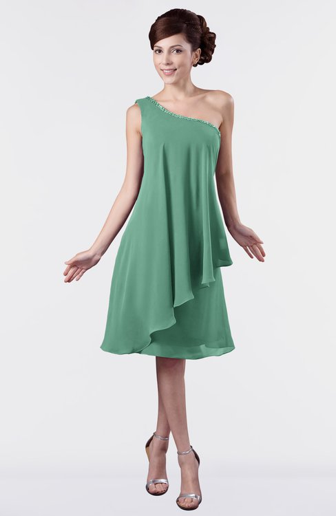 ColsBM Mallory Beryl Green Cute One Shoulder Zipper Knee Length Rhinestone Plus Size Bridesmaid Dresses