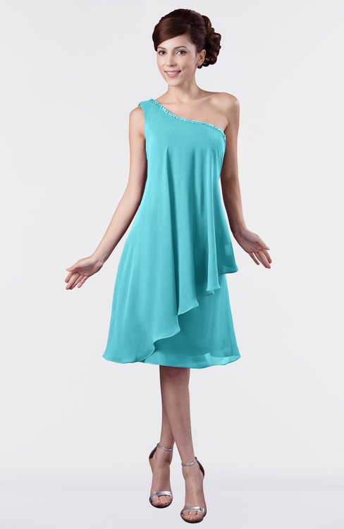 ColsBM Mallory Turquoise Cute One Shoulder Zipper Knee Length Rhinestone Plus Size Bridesmaid Dresses