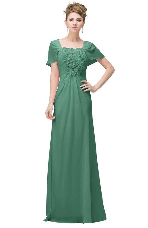 ColsBM Luna Beryl Green Casual A-line Square Short Sleeve Floor Length Plus Size Bridesmaid Dresses