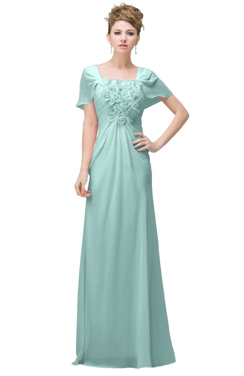 ColsBM Luna Blue Glass Casual A-line Square Short Sleeve Floor Length Plus Size Bridesmaid Dresses