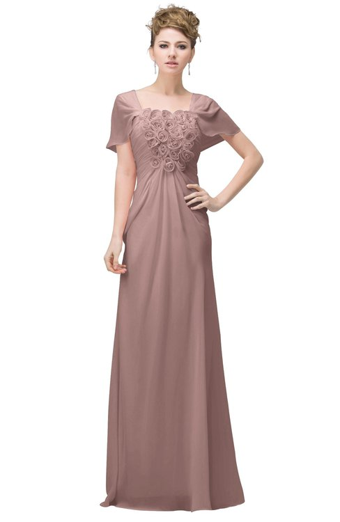 ColsBM Luna Blush Pink Casual A-line Square Short Sleeve Floor Length Plus Size Bridesmaid Dresses
