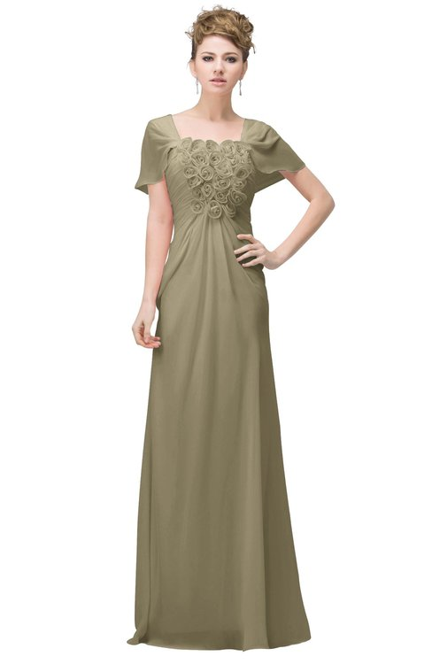ColsBM Luna Candied Ginger Casual A-line Square Short Sleeve Floor Length Plus Size Bridesmaid Dresses