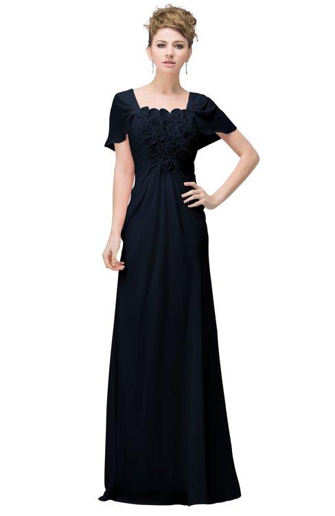ColsBM Luna Navy Blue Casual A-line Square Short Sleeve Floor Length Plus Size Bridesmaid Dresses
