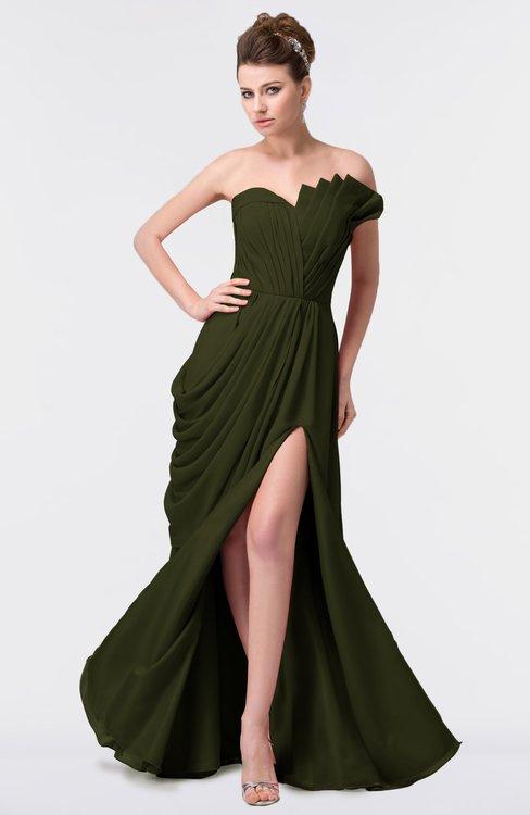 ColsBM Gwen Beech Elegant A-line Strapless Sleeveless Backless Floor Length Plus Size Bridesmaid Dresses