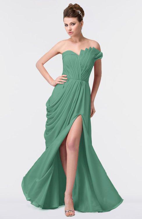 ColsBM Gwen Beryl Green Elegant A-line Strapless Sleeveless Backless Floor Length Plus Size Bridesmaid Dresses