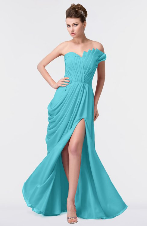 ColsBM Gwen Turquoise Elegant A-line Strapless Sleeveless Backless Floor Length Plus Size Bridesmaid Dresses