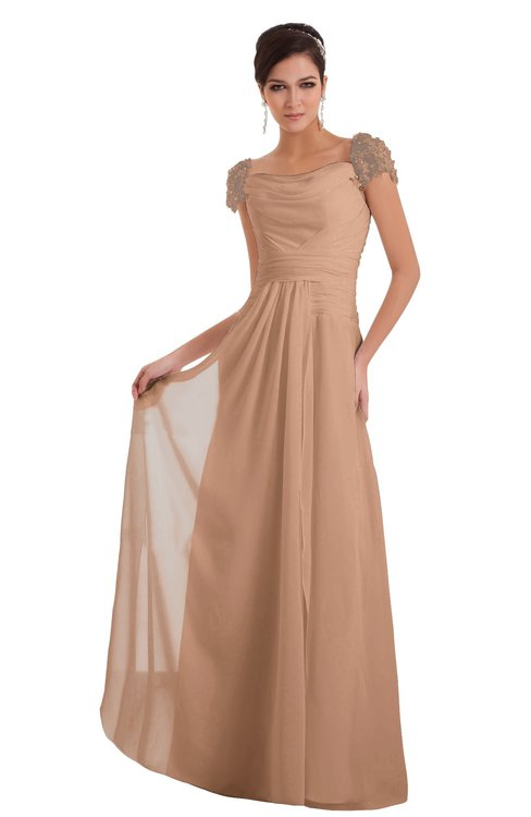ColsBM Carlee Almost Apricot Elegant A-line Wide Square Short Sleeve Appliques Bridesmaid Dresses