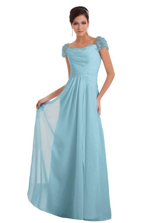 ColsBM Carlee Aqua Elegant A-line Wide Square Short Sleeve Appliques Bridesmaid Dresses