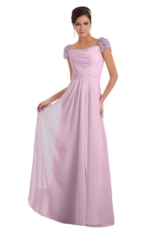 ColsBM Carlee Baby Pink Elegant A-line Wide Square Short Sleeve Appliques Bridesmaid Dresses
