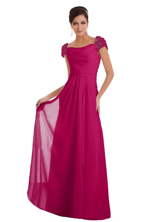ColsBM Carlee Beetroot Purple Elegant A-line Wide Square Short Sleeve Appliques Bridesmaid Dresses
