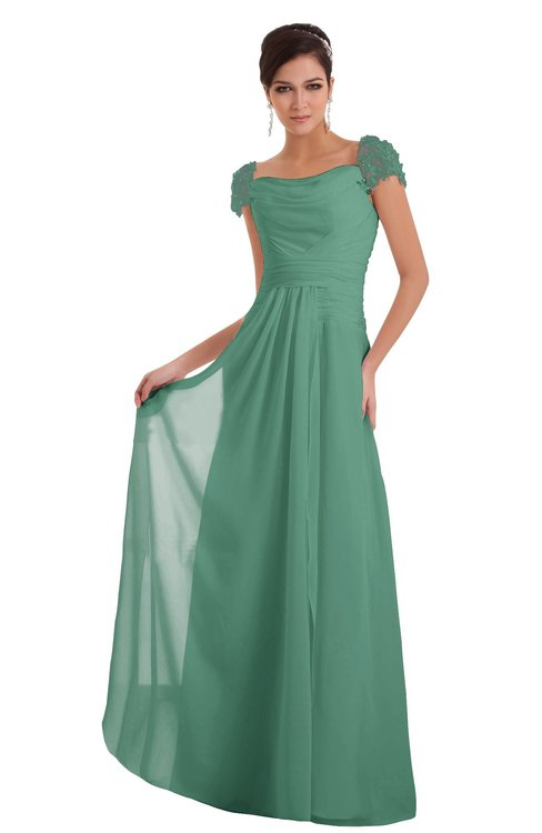 ColsBM Carlee Beryl Green Elegant A-line Wide Square Short Sleeve Appliques Bridesmaid Dresses